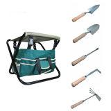 Ensemble d'outils de jardin 7 pièces E, tabouret pliant lourd, sac à outils détachable en toile et outils en acier robuste
