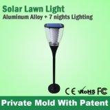 Lumière de lampe solaire moderne en jardin moderne pour extérieur