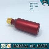 Bouteille en verre européenne colorée rouge d'huile essentielle avec le chapeau d'or