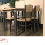 Barato de madera de acero de 4 plazas mesa de comedor y silla