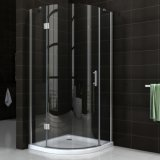Chrome Frame Round Glass Shower Cubicle Porta deslizante