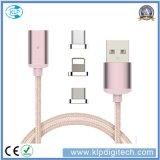 3 em 1 cabo magnético trançado de transferência de dados do carregador do USB do nylon para o Tipo-c Android do iPhone
