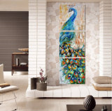 3 Stücke Wand-Kunst-Pfau-Farbanstrich-Wand-Kunst-Druck-Farbanstrich-Ausgangsdekoration-Abbildung-Druck-auf Segeltuch gestalteter Kunst Mc-213