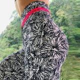 Europeu e Americano Flor Digital Print Quadril elástica de Elevação Alta Relação Cintura Perneiras absorção do suor Yoga Elásticas Pants