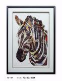 Pittura a olio dipinta a mano della zebra su tela di canapa per le arti decorative della parete