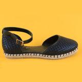Sandali Closed neri delle scarpe di tela della punta tessuti signore di modo