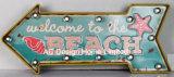 """Vintage оформлены старинной тиснение (emboss) """"Добро пожаловать на пляже"""" конструкции металлические и пластиковые рамы стены оформлены знак W/светодиодный индикатор"""