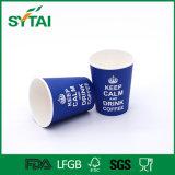 Taza de papel modificada para requisitos particulares venta al por mayor y tapa del café de un sólo recinto del diseño de la insignia