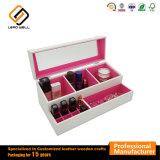 Hechos a mano de cuero de PU Blanca Caja de almacenamiento de cosméticos maquillaje