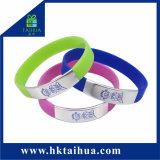 Elastico del Wristband del silicone del braccialetto del silicone di modo di Csutom con il Wristband della clip del metallo