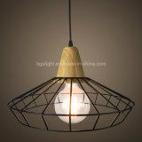 E26 Base de madeira da gaiola de ferro pendente da sala de estar luminárias
