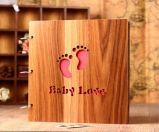 Venda a quente Water-Proofing de alta qualidade a tampa de madeira Encadernação com fio Álbum do bebê, Álbum de casamento