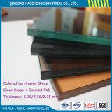 verre feuilleté décoratif de 6.38mm avec le prix de film de la couleur PVB de 0.38mm