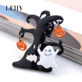 o esmalte 2PCS/Set torna ôcos para fora Brooches do elemento de Halloween da abóbora do Web de aranha