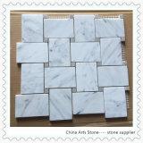 Het in het groot Witte Marmeren Marmeren Mozaïek van Bianco Carrara (rechthoek)