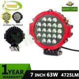 luz de conducción campo a través redonda roja del CREE LED LED de 7inch 63W