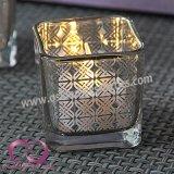 De eenvoudige Vierkante Zilveren Bloem Gegalvaniseerde Kop van de Kaars van de Houder van de Kaars van het Glas