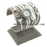12 ЦВЕТОВ CZ Бриллиантовая Рука тканого браслет наручные часы