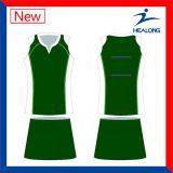Modèle de couleur verte vos propres Jersey Skorts d'uniformes de Netball
