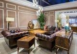 Qualidade superior de cor castanha Vintage Chesterfield sofá de couro móveis domésticos
