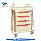 ABS del uso del hospital que cuida la carretilla médica con los cajones