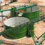 L'addensatore di estrazione dell'oro per il cianuro del minerale metallifero dell'oro che liscivia la pianta e le parti incastrata di un mattone in aggetto riciclano