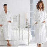 ショールカラー男女兼用の点検されたホテルの白いベロアの特大浴衣