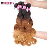 O cabelo brasileiro dos pacotes de Ombre do cabelo humano do Virgin de Remy tece