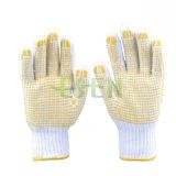 Перчатки промышленной работы хлопка хорошего качества с розовыми многоточиями PVC желтыми