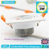 사각 3W는 백색 LED 천장 램프 Dimmable LED Downlight를 데운다