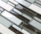 Brown decorativo e mattonelle di mosaico bianche di cristallo della cucina per la parete