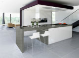 Mesa de bancada de quartzo branco espumante de superfície sólida e espumada para cozinha