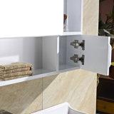 Gabinete de banheiro branco fixado na parede da madeira de carvalho da série do gabinete