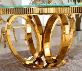 円形新しい現代直径1.3mおよび金カラーガラスダイニングテーブル