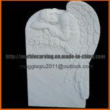 Eenvoudige HerdenkingsGrafsteen met Engel, Grafzerk, Kerkhof, Grafsteen