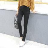 Jeans minces d'ajustement de taille élevée neuve de mode pour des femmes
