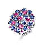 Los nuevos 925 Joyería de Plata anillo con la configuración del clúster de zirconio cúbico