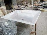 台所か浴室または虚栄心の自然な石造りの黒い大理石の洗浄の流しおよび洗面器