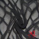 Tela Chiffon de seda do jacquard do diamante preto para o vestido