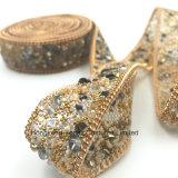O Rhinestone novo do elemento 2017 que apara o reparo quente perla a corrente do Rhinestone para acessórios do vestuário (o ouro de TP-20mm)