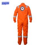 オレンジつなぎ服の安全仕事着の防護衣のつなぎ服