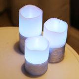 El pilar agita la vela sin llama de la luz de la vela de la boca LED con el telecontrol y el temporizador