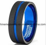 Joyería Shineme entre la plata anillo del tungsteno azul