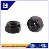 Écrou de blocage en nylon galvanisé noir d'hexa de garniture intérieure