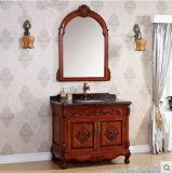 Module de salle de bains en bois solide sur le classique de bassin de marbre d'étage