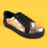Настраиваемые Golden Lace Up моды черный исключительно женщин повседневный кроссовки