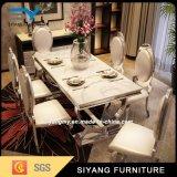食堂の家具の食堂テーブルの白い大理石表
