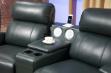 Sofá Home do assento do couro três do Recliner do cinema com jogador de música (HC051)