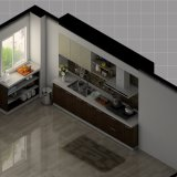 2017 Keukenkasten van de Melamine van het Ontwerp van het Huis de Lineaire met de Kasten van de Vloer