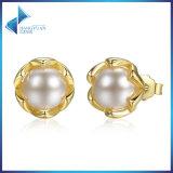 I nuovi presente rimuovono la CZ compatibile con gli orecchini della vite prigioniera della perla dell'oro dell'argento sterlina del negozio speciale 925 dei monili